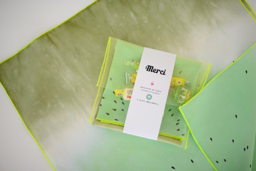 teinture tissu kiwi
