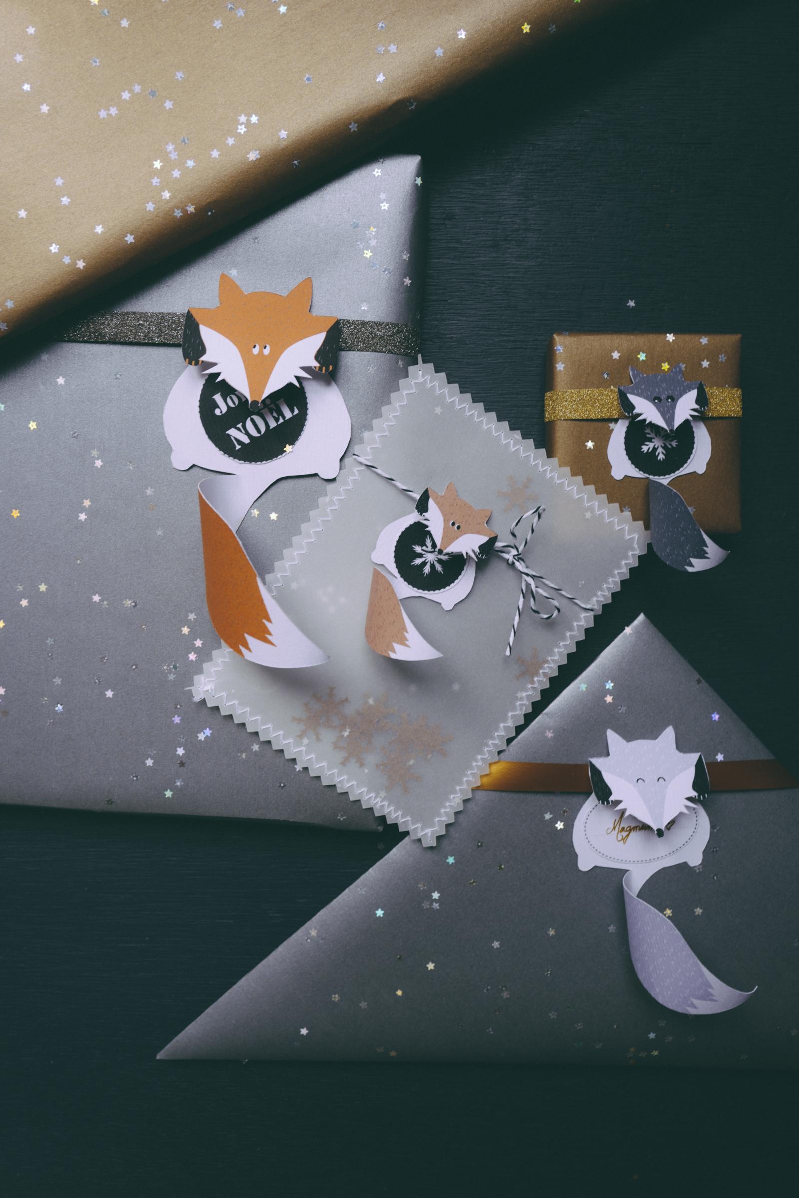Les étiquettes cadeaux à télécharger Fox Family